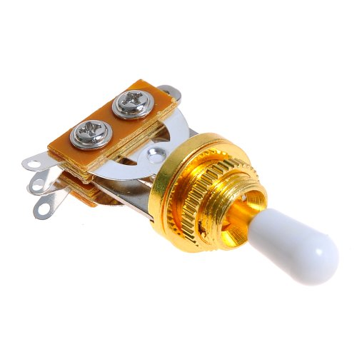 1Pc 3 Way Guitar Toggle Switch For Electric Guitar Gold W/ White