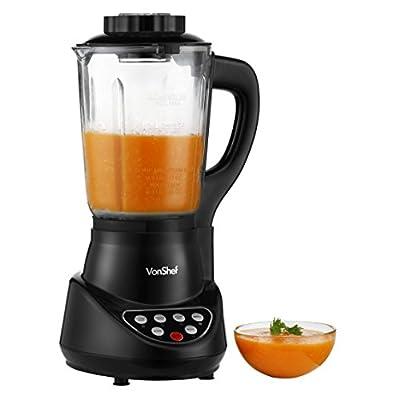 VonShef Fresh Soup Maker Automatic Multifunctional Machine & Smoothie Maker with Blender, Pulse, Steamer, Boiler, 57-Oz Jug, Black