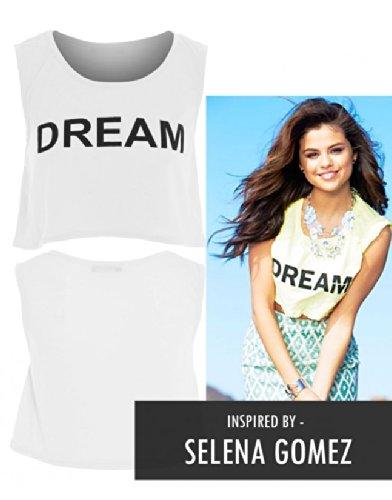 Femmes Selena Gomez R Ve Imprimer Manches Flamm Crop Top