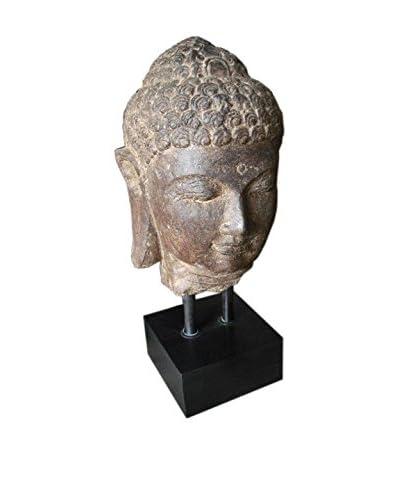 Jeffan Buddha Face II on Stand, Brown
