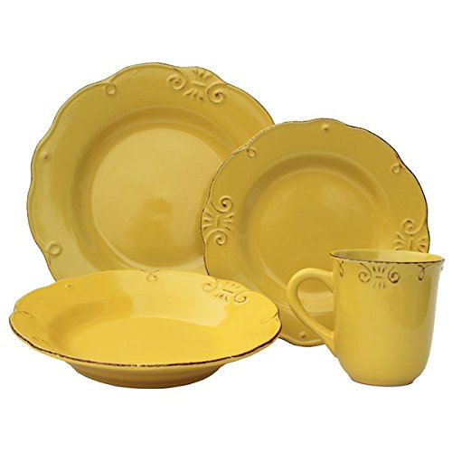 Antique Edge Sunflower Stoneware 16-piece 4-place Setting Dinnerware Set 0