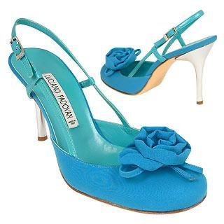 Italian Shoes for Women - Luciano Padovan: Luciano Padovan Turquoise Flower crepe de Chine & Leather Slingback Shoes :  luciano padovan italian shoes for women turquoise shoes