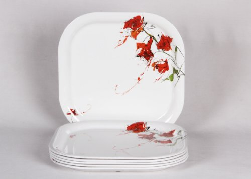"Iveo Fancy Rose Fantastic Square 11"" Full Plate"