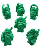 Set of 6 Faux Jade Finish Mini Happy Buddha Statues