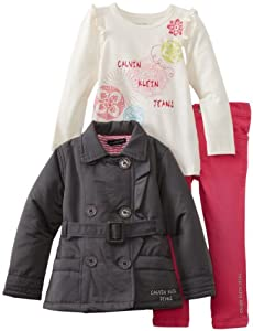 Calvin Klein Girls 2-6X Toddler Jacket With Tee And Pink Jean by Calvin Klein
