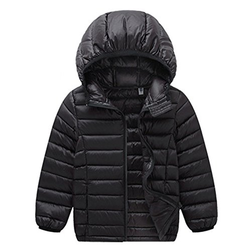 VICVIK Boys and Girl Fashion colorsfhl Down feather Jacket Coat Kid Winter Clothes (100, Black)