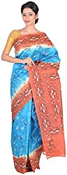 Sree Howrah Stores Women's Pure Silk Saree with Blouse Piece (Peacock Blue)