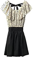 Allegra K Women Dots Print Flouncing Patchwork Dress W Waist Belt