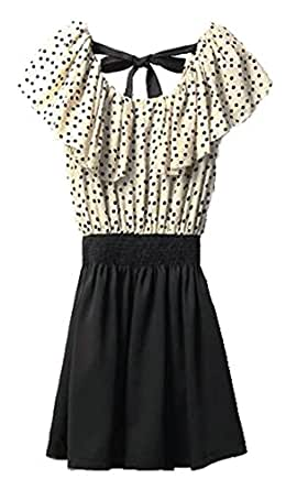 Women Dots Print Flouncing Panel Dress w Waist Belt