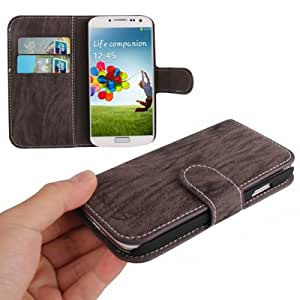 Natural Texture Horizontal Flip Leather Case with Credit Card Slots for Samsung Galaxy S4 i9500 (Purplish Grey)