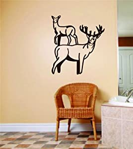 Male & Female Deer / Buck Animals Graphics - Bedroom Home Decor - Vinyl Wall Decal Stickers - Size : 14 Inches X 14 Inches - 22 Colors Available