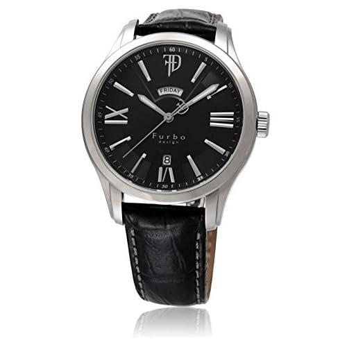 (フルボデザイン)Furbo Design 腕時計 ステンレススチール デイデイト ブラックダイアル メンズサイズ [並行輸入品]
