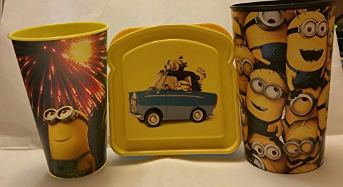 Minions Lunch Bundle of 3 Sandwich Container Holder and Plastic Beverage Cups