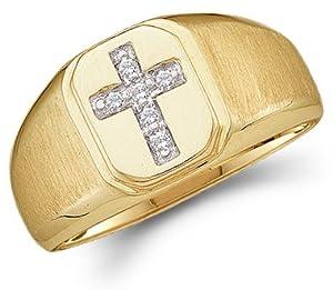 Mens Diamond Cross Ring 10k Yellow Gold Anniversary Band Religious, Size 8