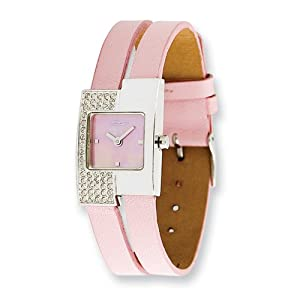 Fashionista Offset Swarovski Case/pink Leather Strap Watch by Moog Watches, Best Quality Free Gift Box Satisfaction Guaranteed