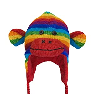 Old Glory - Unisex-child Rainbow Sock Monkey Peruvian Kids Knit Hat Multi