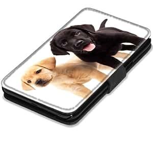 Chiens 10010, Labrador, Etui Personnalisé Coque Housse Cover Coquille en Cuir Noir avec l'Image Coloré pour Samsung Galaxy Note 2 N7100.