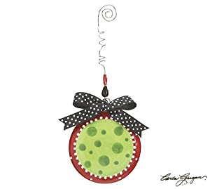 Merry Christmas Y'all Polka Dot Ornament Red Green