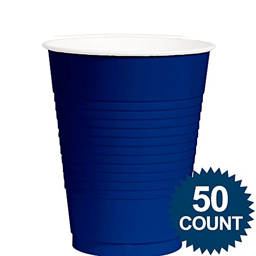 Amscan Big Party Pack 50 Count Plastic Cups, 12-Ounce, Bright Royal Blue