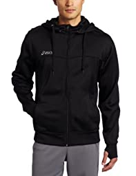 Asics Men\'s Poly Tech Zip Hoodie, Black, Small