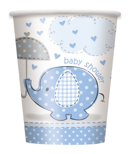 Umbrella Elephant Boy Baby Shower Paper Cups (8ct) - 1