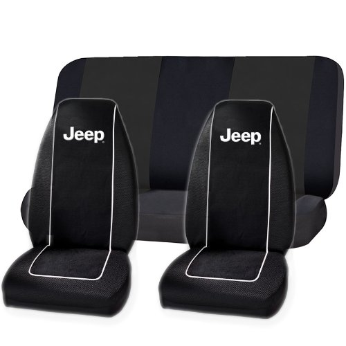 Black Original Jeep High Back Seat Covers & Black Classic Bench Cover Set Universal
