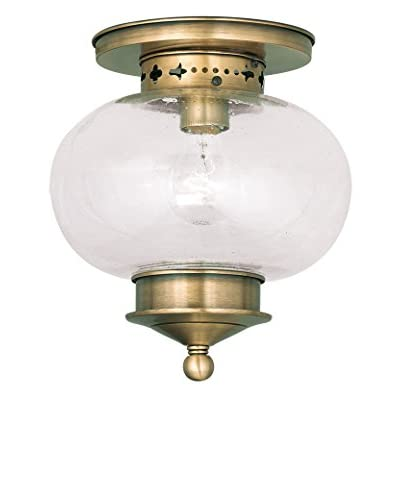 Crestwood Lucia 1-Light Ceiling Mount, Antique Brass