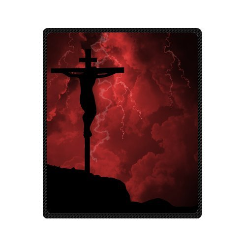 Personalized Fashion Holy Cross Salvation Pattern Picture Fleece Blanket 50 X 60 back-1074445