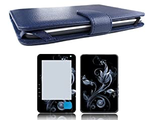 Bundle Monster Borders Kobo (1st Generation) Genuine Leather Case Cover Jacket + Skin Art Decal Sticker + Screen Protector Ebook Accessories Combo