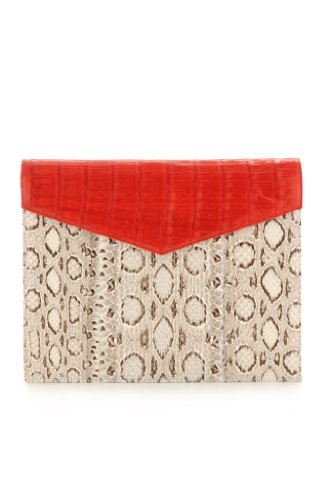Adriana Castro-Nina Clutch Natural/Red Vipersnake/Crocodile