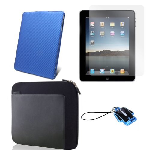 (Blue Carbon Cover) Apple iPad skin silicone case / leather case for iPad 3G cover neoprene sleeve case accessory bundle + screen protector + MiniSuit LCD Cleaner