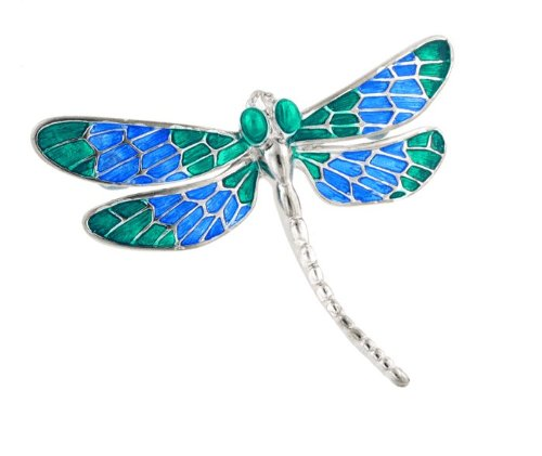 Silver plated and vitreous hand enameled dragonfly
