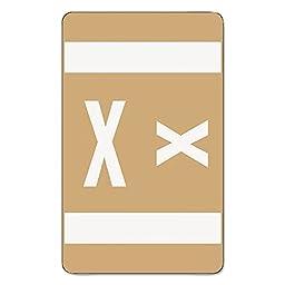 Smead Alpha-Z Color-Coded Second Letter Labels, Letter X, Light Brown, 100/Pack