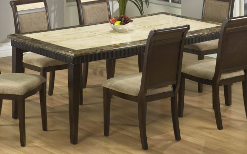 Buy Low Price Armen Living B993 Dining Table in Corallo and Imperador Marble / Espresso – Armen Living – B993-DTABLE-3 (B993-DTABLE-3)