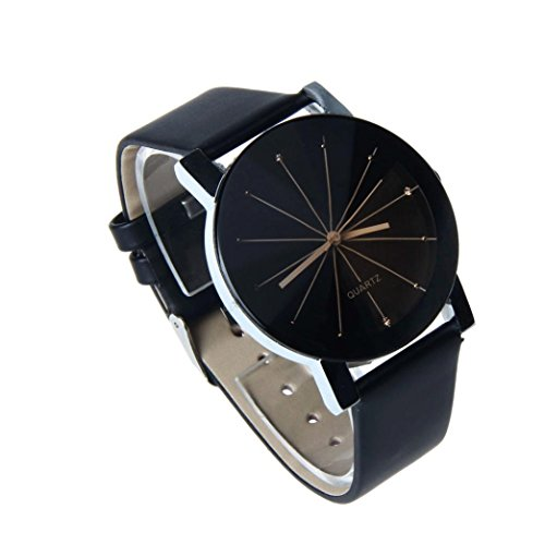 Perman Unique Mens Quartz Round Dial Case Clock PU Leather Band ...
