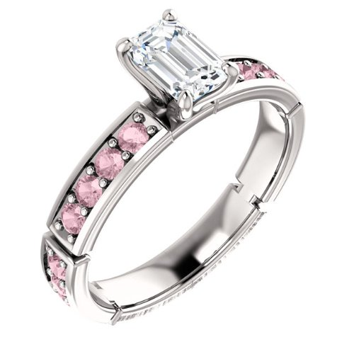 10K White Gold Emerald Cut White and Pink Diamond Engagement Ring — LIFETIME WARRANTY