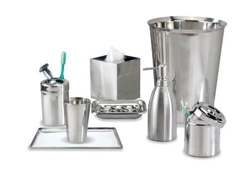 nu steel gloss collection bathroom accessories set 8 piece feature