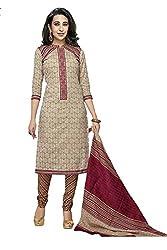 NidhiFabrics Women Cotton Dress material (SGP927_Beige)