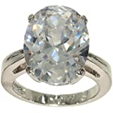 Big Oval Single Stone Silvertone Fashion Ring in Clear Cubic Zirconia with Four Prong Setting