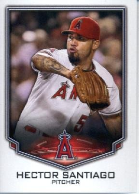 2016 Topps MLB #9 Hector Santiago Los Angeles Angels Baseball Sticker-MINT