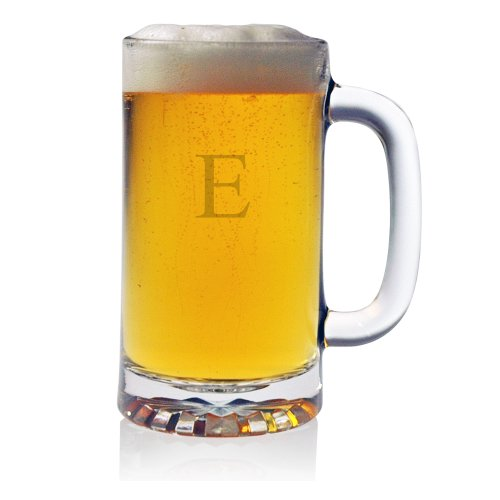 Susquehanna Glass Monogrammed E Pub Beer Mugs, Set of 4
