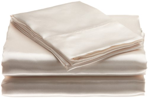 Scent-Sation Charmeuse Satin 3-Piece Sheet Set, Twin, Bone front-753934
