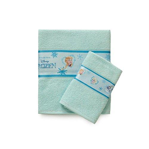 Set 1+1 spugna da bagno Frozen Disney asciugamani viso+ospite P195 VERDE ACQUA