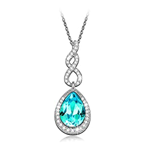 LadyColour Ocean Blue Pendant Necklace Made with Swarovski Elements Crystal 2016 Necklace Mothers Day Gifts