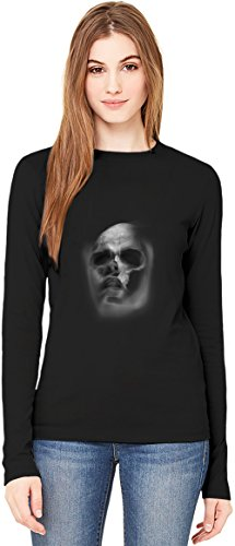 Faded Skull Face T-Shirt da Donna a Maniche Lunghe Long-Sleeve T-shirt For Women| 100% Premium Cotton| DTG Printing| Large