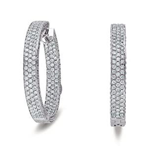 14k White Gold 3.55 Dwt Diamond 30mm Hoop Earrings - JewelryWeb