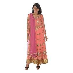 Gurpreet Kaur Women Net Dress (D002, Peach , 36)