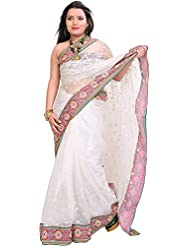 Exotic India Bright-White Wedding Saree With Patch Border And Embroidere - White