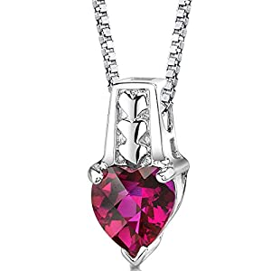 Cherished Forever: Sterling Silver Rhodium Nickel Finish Heart Shape Checkerboard Cut Created Ruby Pendant with 18 inch Silver Necklace