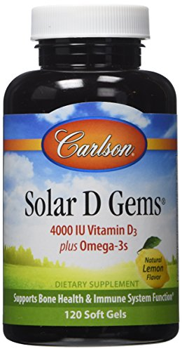 Carlson Labs Solar D Gems Naturals Vitamin D3 with Omega-3 4000 IU 120 Caps (4000 Iu Vitamin D compare prices)